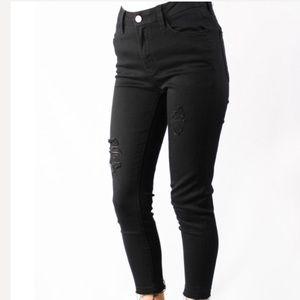 High Rise Distressed Black Skinny Jeans